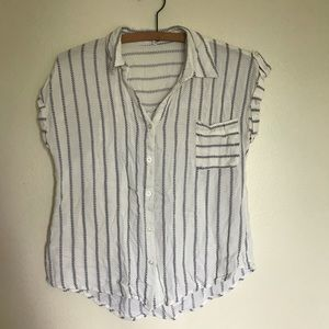 Mine button down white and blue